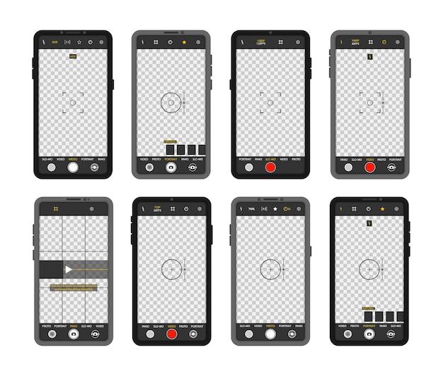 Telefone celular com interface de câmera. visor