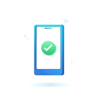 Telefone celular com marca de seleção e conceito de confirmação