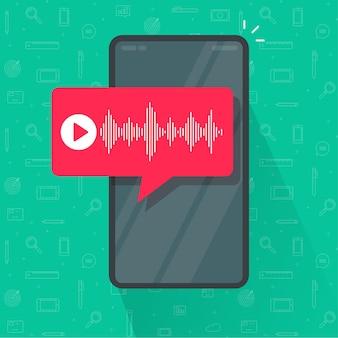 Telefone celular com notificação de bate-papo por mensagem de voz ou podcast de gravação de ondas de áudio de smartphone celular