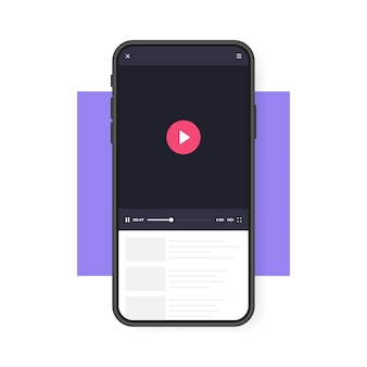 Telefone celular com reprodutor de vídeo. aplicativo móvel para reprodução de vídeo. conceito de mídia social. videoconferência, streaming, blogging.