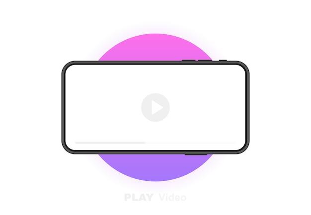Telefone celular com reprodutor de vídeo. conceito de mídia social. videoconferência, streaming, blog. gráfico.