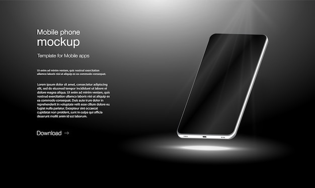 Telefone celular de ilustração isométrica. quadro do smartphone sem tela em branco, posição girada.