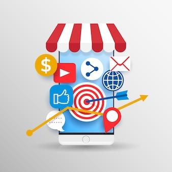Telefone celular de marketing de mídia social