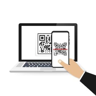 Telefone celular digitalizar código qr. ilustração isolada.