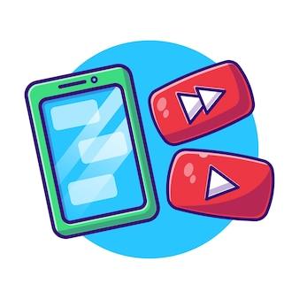 Telefone celular e botão play plana.
