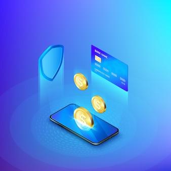 Telefone celular e cartão de crédito de moeda de ouro caindo e conceito de escudo de banco on-line ou dinheiro de depósito isométrico.