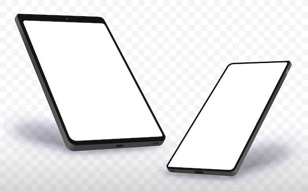 Telefone celular e computador tablet realista com visão em perspectiva