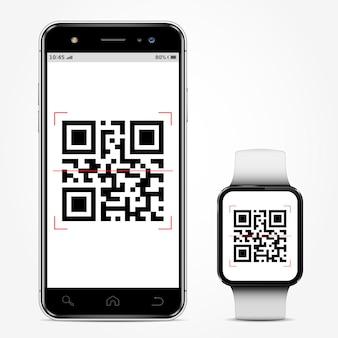 Telefone celular e smartwatch com código qr na tela