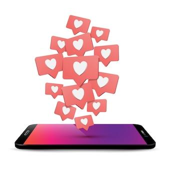 Telefone celular gosta e comenta ilustração 3d realista btelefone com balões de fala e corações