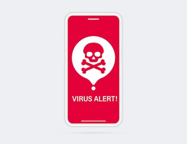 Telefone com alarme de alerta de vírus de aviso na tela. notificação de malware no smartphone. conceito de segurança móvel, risco de segurança. smartphone quebrado com alerta de vírus na tela