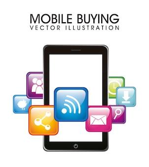 Telefone com aplicativos móveis comprando ilustração vetorial