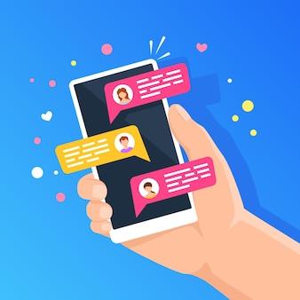 Telefone com bate-papo online pessoas conversando no smartphone segurando o celular com nova mensagem de texto
