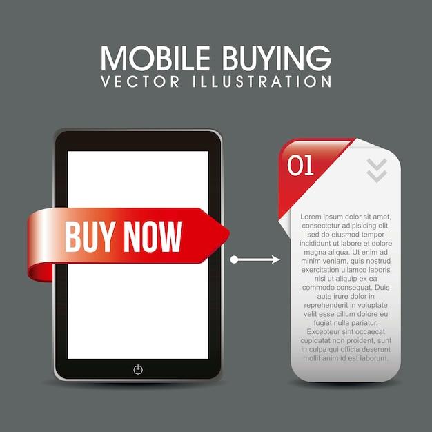 Telefone com caixa de descrição móvel comprando ilustração vetorial