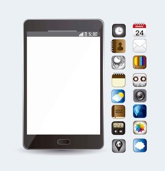 Telefone com ícones de aplicativos sobre vetor de fundo branco