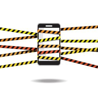 Telefone com ilustração de fita de precaução