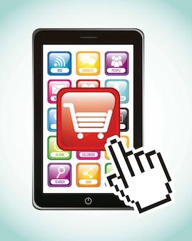 Telefone com ilustração em vetor compra móvel carrinho compras
