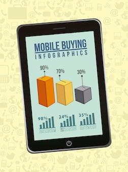 Telefone com infográficos móvel comprando ilustração vetorial