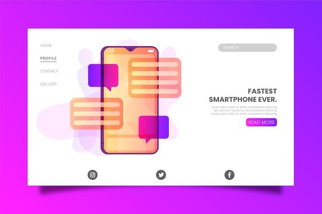 Telefone com modelo de página de aterrissagem de bolhas de discurso