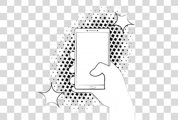 Telefone cômico com sombras de meio-tom. mão segurando o smartphone.