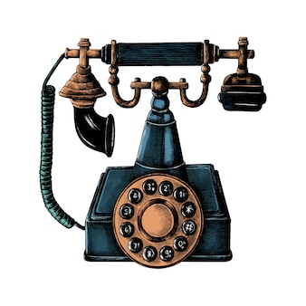 Telefone de linha retrô desenhada de mão