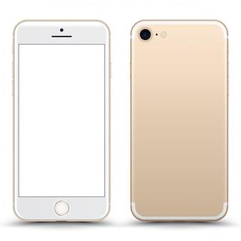 Telefone de ouro com tela em branco isolada.