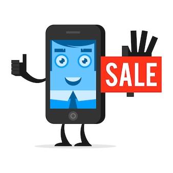 Telefone de personagem de ilustração anuncia venda, formato eps 10