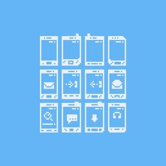 Telefone de pixel art com conjunto de ícones de notificação