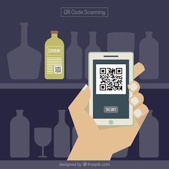 Telefone digitalização qr fundo código de barras