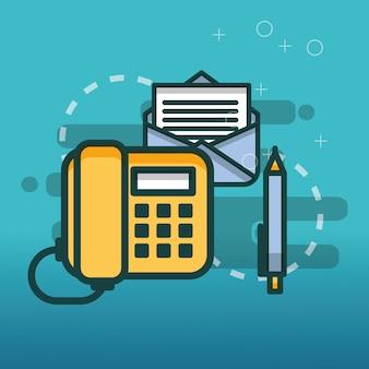 Telefone e-mail comunicação caneta escritório