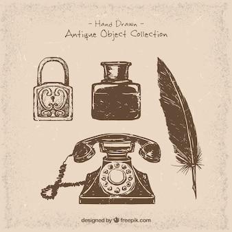 Telefone e objetos desenhados à mão do vintage