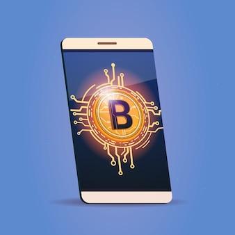 Telefone esperto da pilha com conceito cripto da moeda do dinheiro da web de digitas do ícone de bitcoin