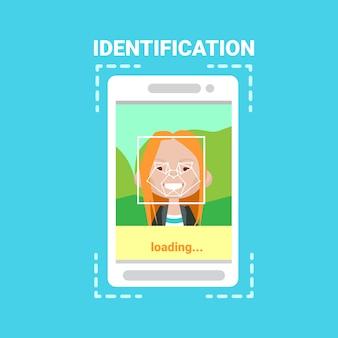 Telefone inteligente, carregando, rosto, identificação, sistema, digitalizando, mulher, usuário, controle acesso, modernos, tecnologia