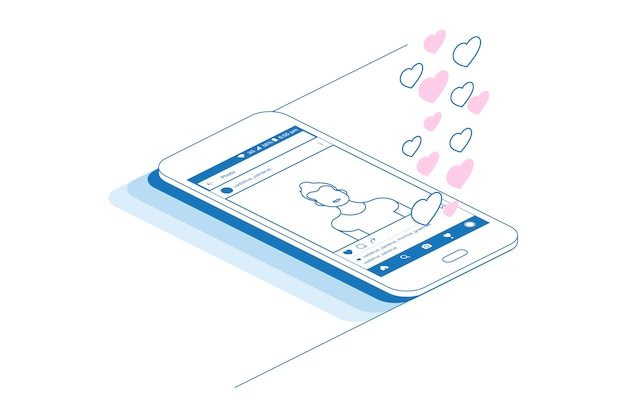 Telefone inteligente com aplicativo social e perfil social.