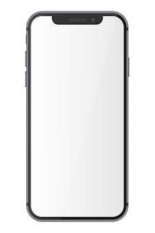 Telefone inteligente com tela em branco, isolada no fundo branco.