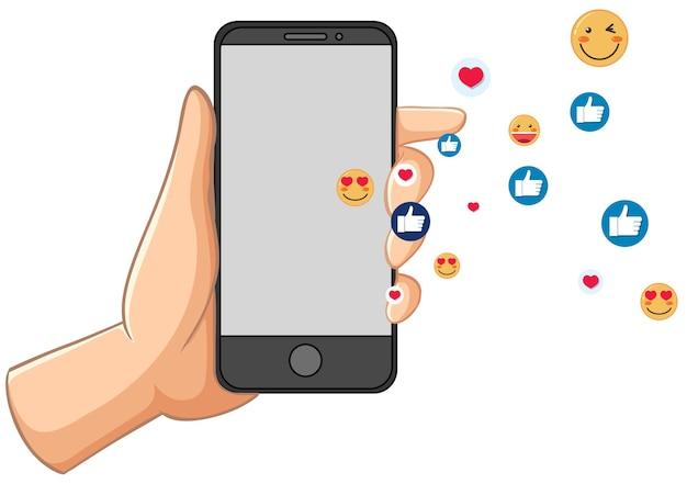 Telefone inteligente com tema de ícone de mídia social isolado no fundo branco