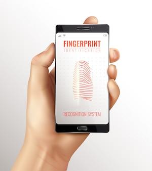 Telefone inteligente de identificação de impressão digital