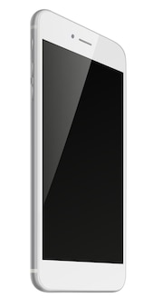Telefone inteligente fotorrealista com tela preta isolada no fundo branco.