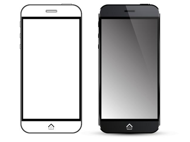 Telefone inteligente preto. vista frontal e contorno