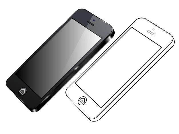 Telefone inteligente preto. vista lateral direita e esboço