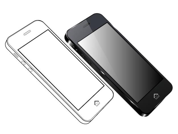 Telefone inteligente preto. vista lateral esquerda e esboço