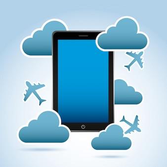 Telefone inteligente sobre ilustração vetorial de fundo azul claro