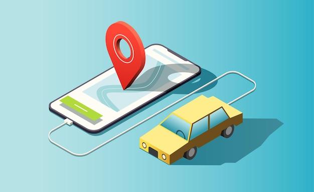 Telefone isométrico com carro amarelo, pino de localização vermelho.