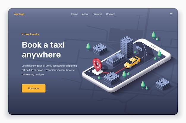 Telefone isométrico com carro táxi amarelo, cidade, pino de localização vermelho. modelo de página de destino.