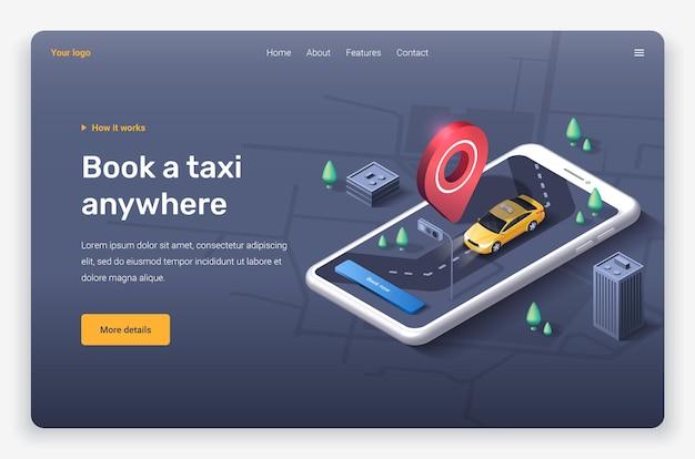 Telefone isométrico com carro táxi, cidade, pino de localização e botão. modelo de página de destino.