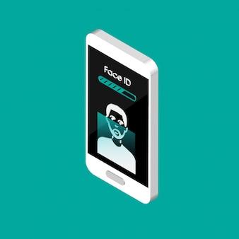 Telefone isométrico com ícones de identificação de rosto na tela. ícones de processo de digitalização de rosto 3d. sinais do sistema de reconhecimento facial. símbolos de detecção facial e segurança de acesso.