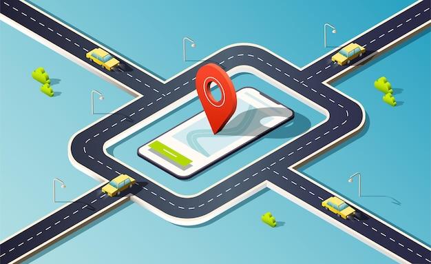 Telefone isométrico com mapa, estrada, carros amarelos e pino vermelho de localização.