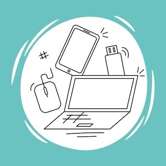 Telefone laptop e usb