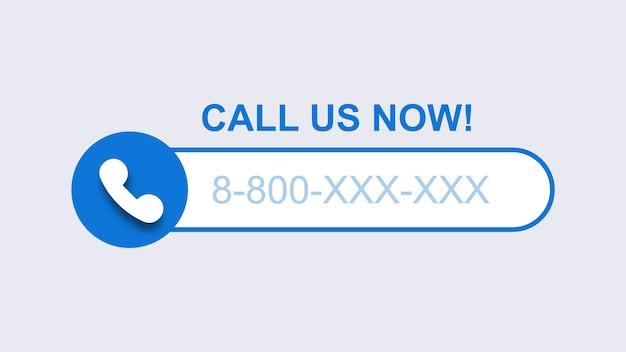 Telefone, ligue para nós agora modelo. chamada de celular azul com número de assinante