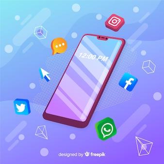 Telefone móvel, com, aplicações, ícones