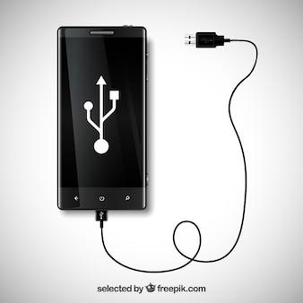 Telefone móvel com conexão usb
